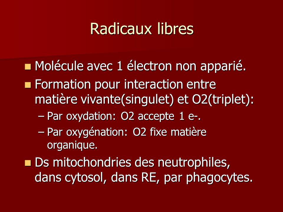 Radicaux libres Molécule avec 1 électron non apparié.