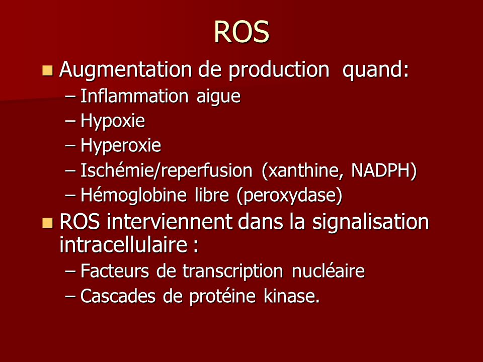 ROS Augmentation de production quand: