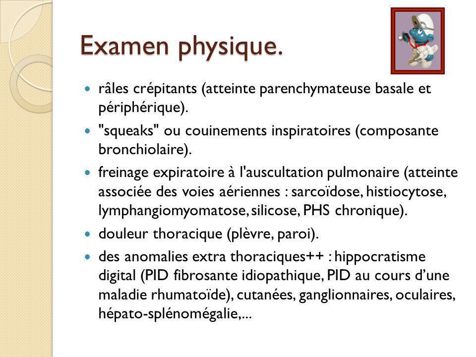 Examen physique. râles crépitants (atteinte parenchymateuse basale et périphérique).