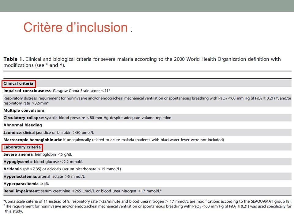 Critère d'inclusion :