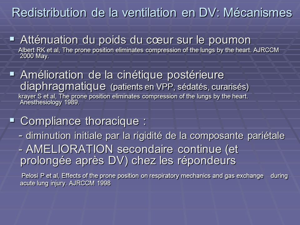 Redistribution de la ventilation en DV: Mécanismes