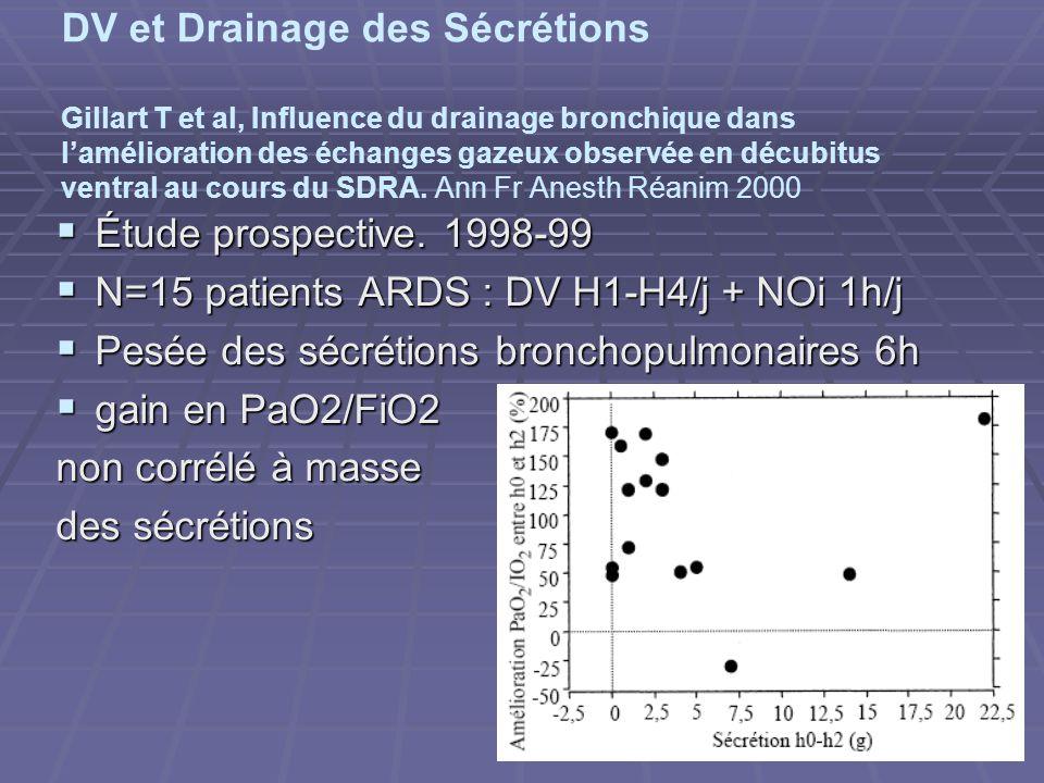 DV et Drainage des Sécrétions Gillart T et al, Influence du drainage bronchique dans l'amélioration des échanges gazeux observée en décubitus ventral au cours du SDRA. Ann Fr Anesth Réanim 2000