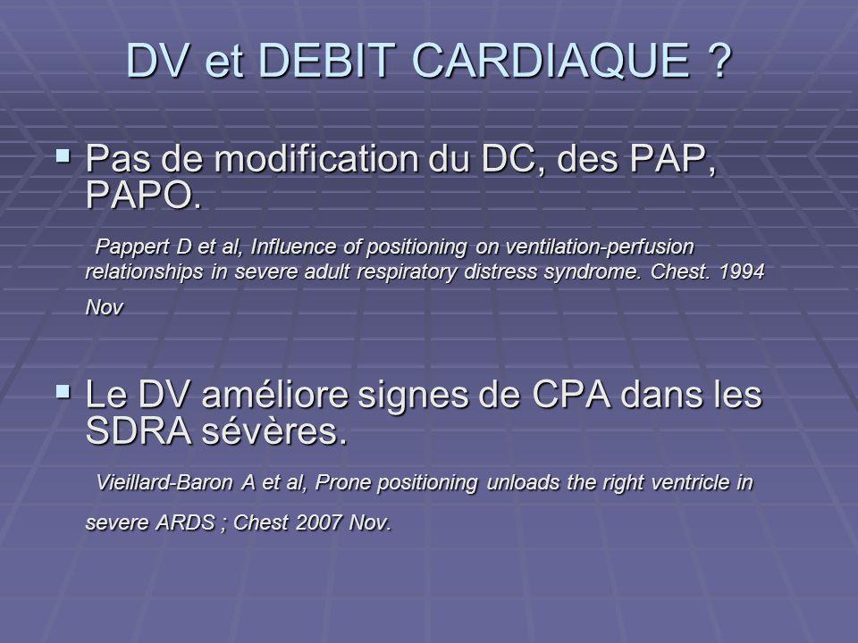DV et DEBIT CARDIAQUE Pas de modification du DC, des PAP, PAPO.