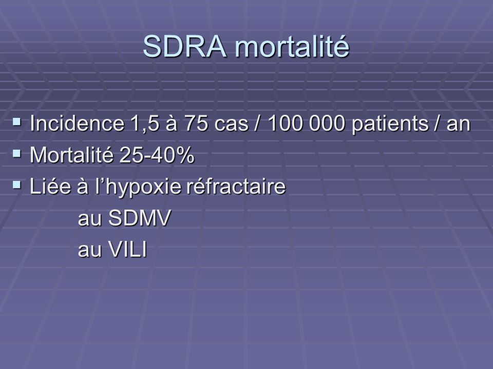 SDRA mortalité Incidence 1,5 à 75 cas / 100 000 patients / an