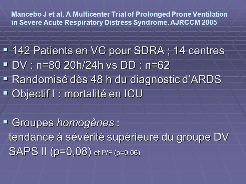 142 Patients en VC pour SDRA ; 14 centres