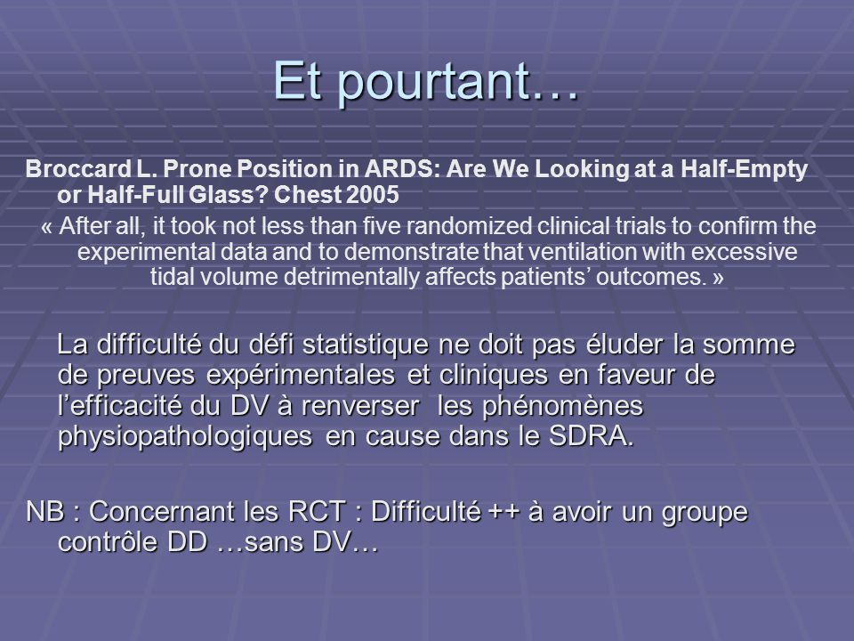 Et pourtant… Broccard L. Prone Position in ARDS: Are We Looking at a Half-Empty or Half-Full Glass Chest 2005.