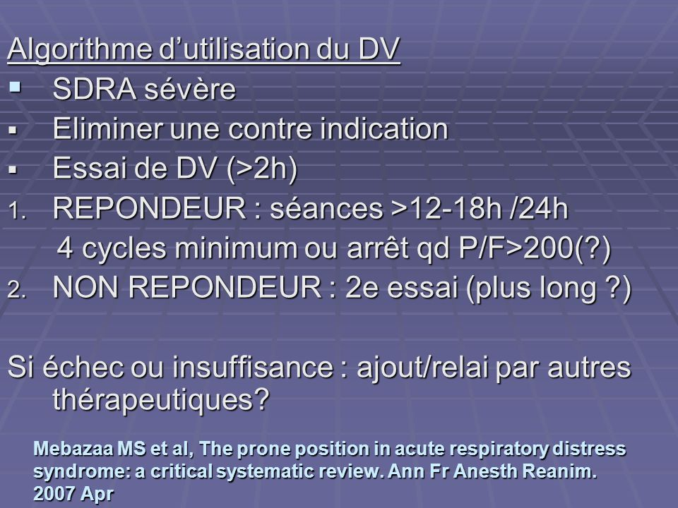 Algorithme d'utilisation du DV SDRA sévère