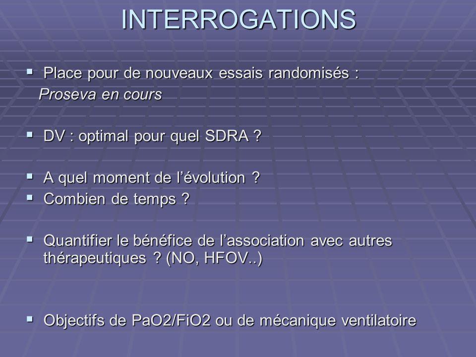 INTERROGATIONS Place pour de nouveaux essais randomisés :