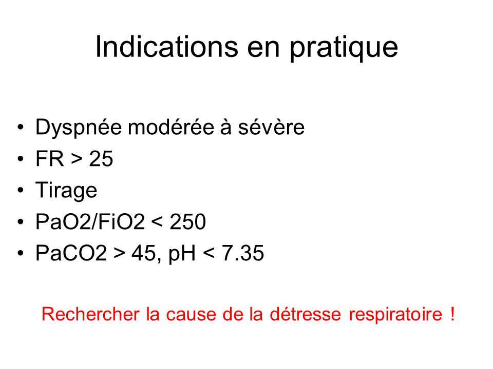Indications en pratique