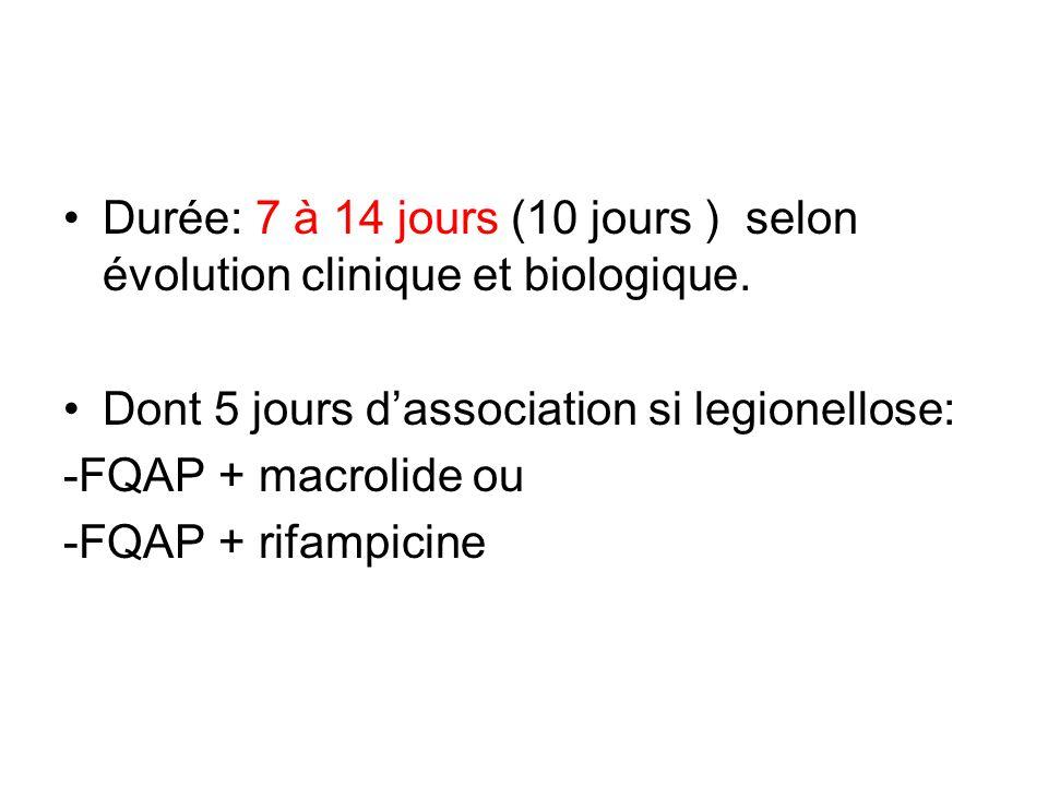 Durée: 7 à 14 jours (10 jours ) selon évolution clinique et biologique.