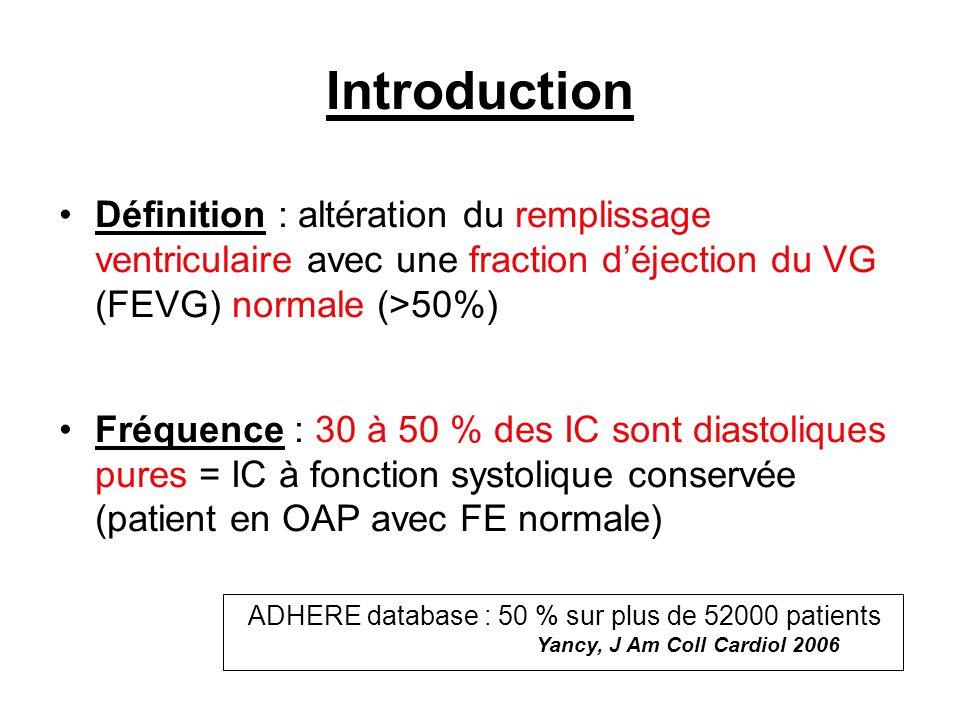 Introduction Définition : altération du remplissage ventriculaire avec une fraction d'éjection du VG (FEVG) normale (>50%)