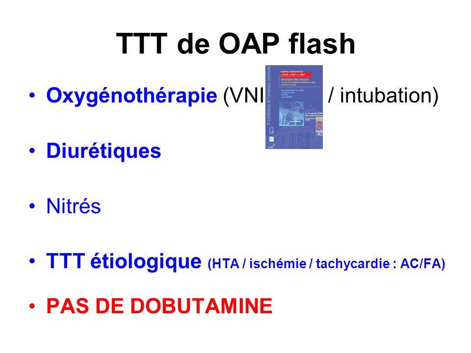 TTT de OAP flash Oxygénothérapie (VNI / intubation) Diurétiques Nitrés
