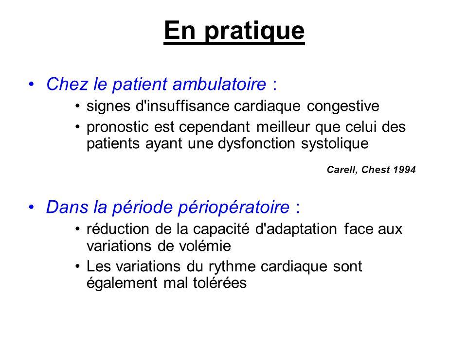 En pratique Chez le patient ambulatoire :