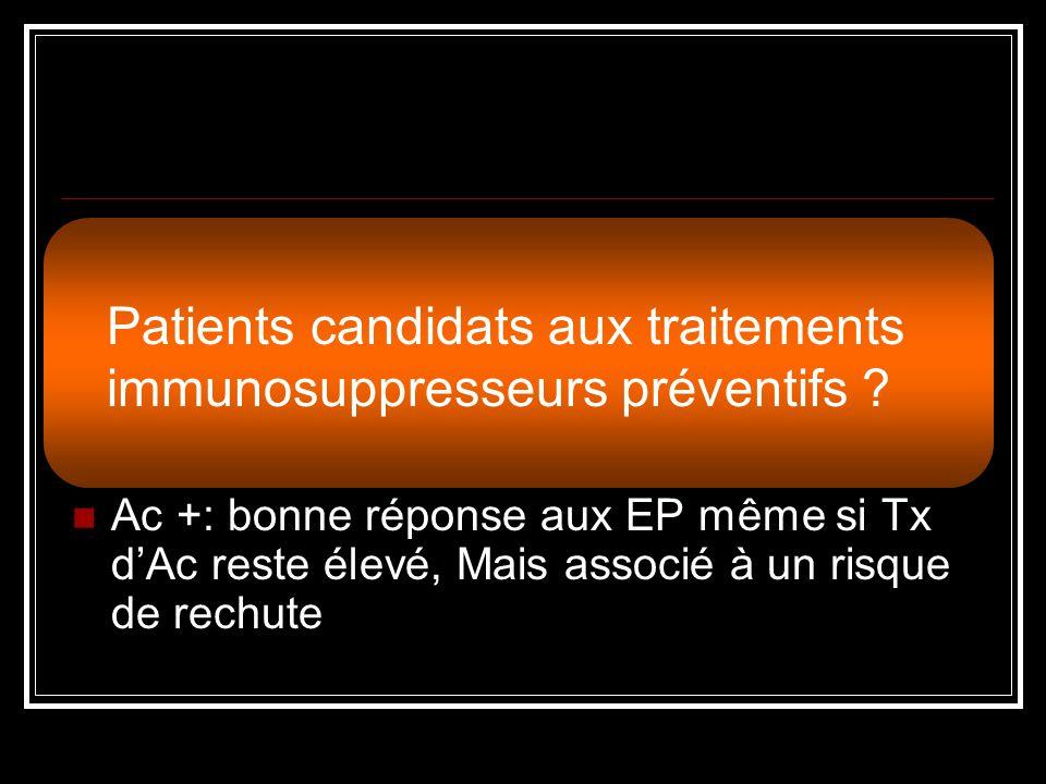 Patients candidats aux traitements immunosuppresseurs préventifs
