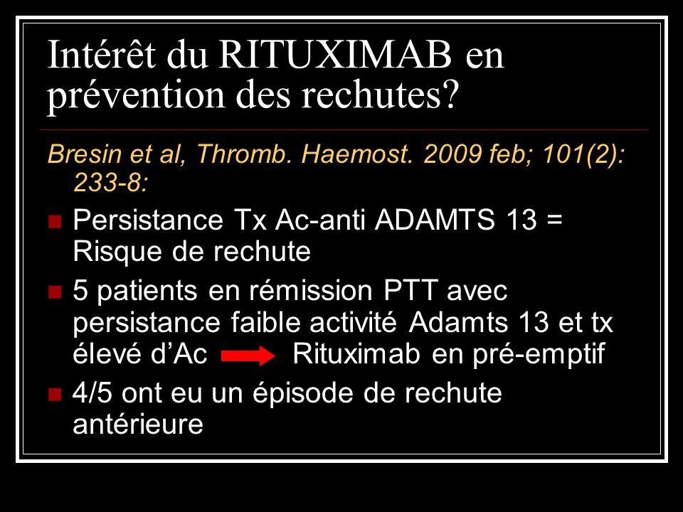 Intérêt du RITUXIMAB en prévention des rechutes
