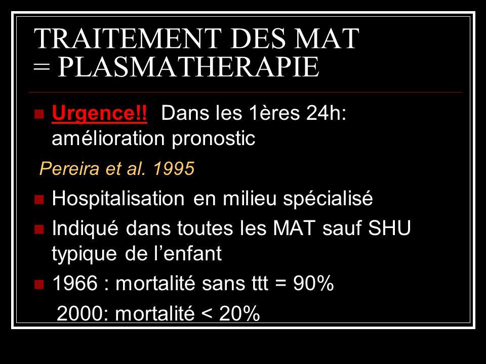TRAITEMENT DES MAT = PLASMATHERAPIE