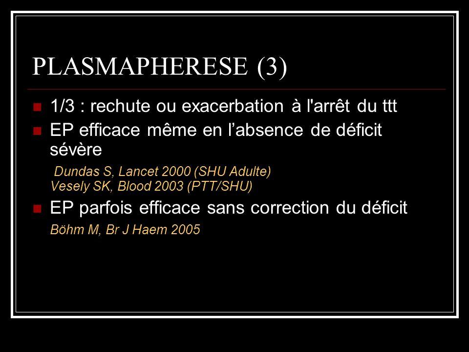 PLASMAPHERESE (3) 1/3 : rechute ou exacerbation à l arrêt du ttt