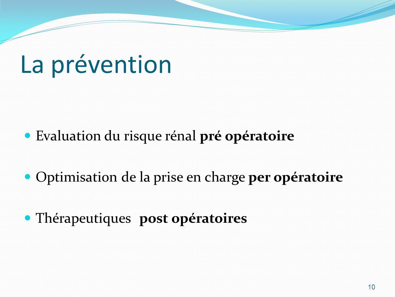 La prévention Evaluation du risque rénal pré opératoire