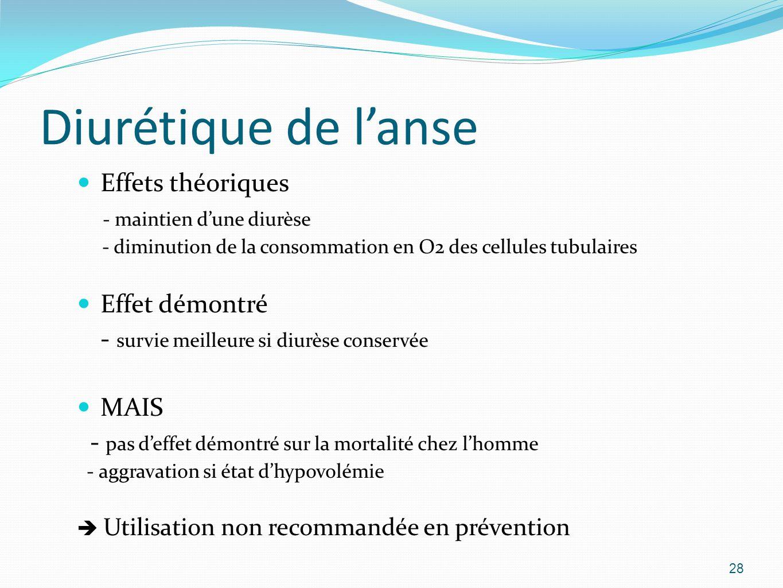 Diurétique de l'anse Effets théoriques - maintien d'une diurèse