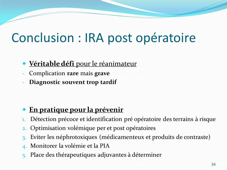 Conclusion : IRA post opératoire