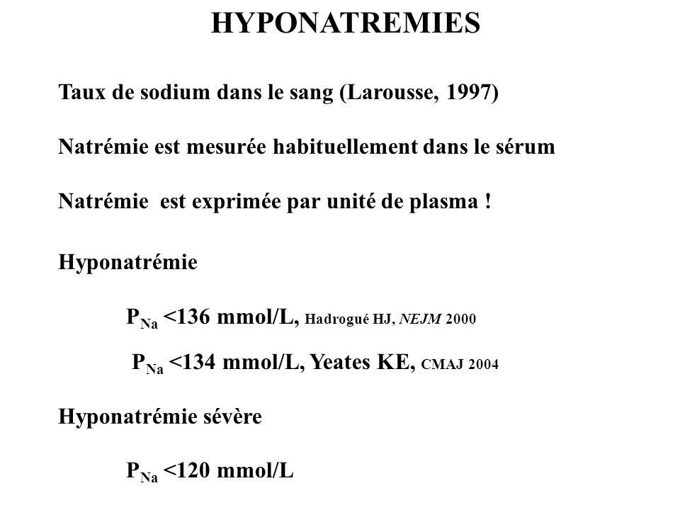HYPONATREMIES Taux de sodium dans le sang (Larousse, 1997)