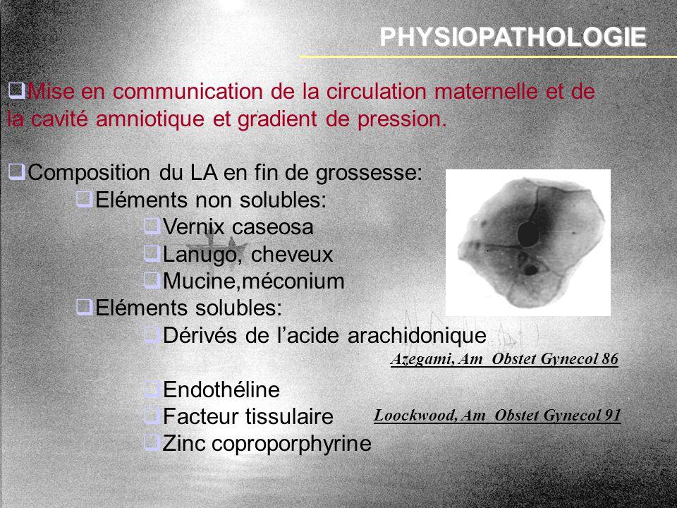 PHYSIOPATHOLOGIE Mise en communication de la circulation maternelle et de la cavité amniotique et gradient de pression.