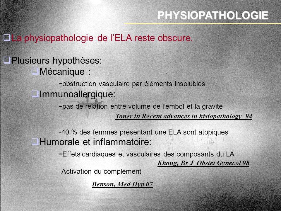 PHYSIOPATHOLOGIE La physiopathologie de l'ELA reste obscure.