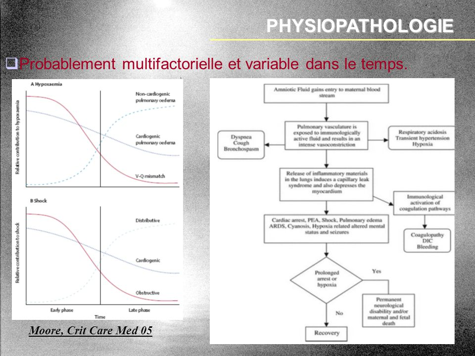 PHYSIOPATHOLOGIE Probablement multifactorielle et variable dans le temps. Moore, Crit Care Med 05