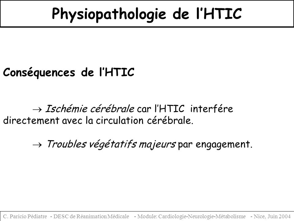 Physiopathologie de l'HTIC