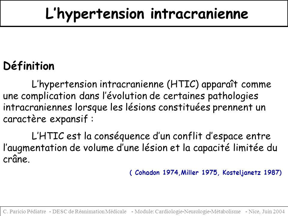 L'hypertension intracranienne