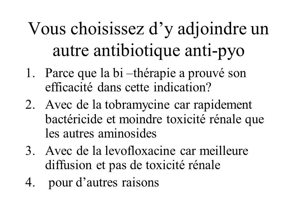 Vous choisissez d'y adjoindre un autre antibiotique anti-pyo