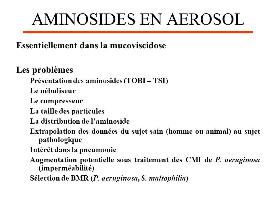 AMINOSIDES EN AEROSOL Essentiellement dans la mucoviscidose