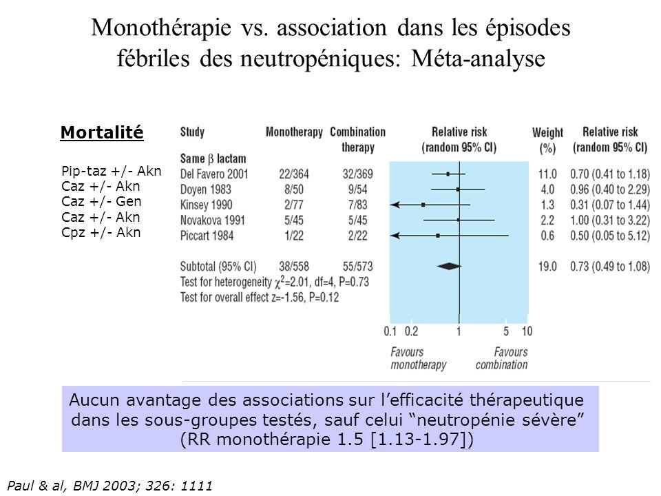Monothérapie vs. association dans les épisodes fébriles des neutropéniques: Méta-analyse