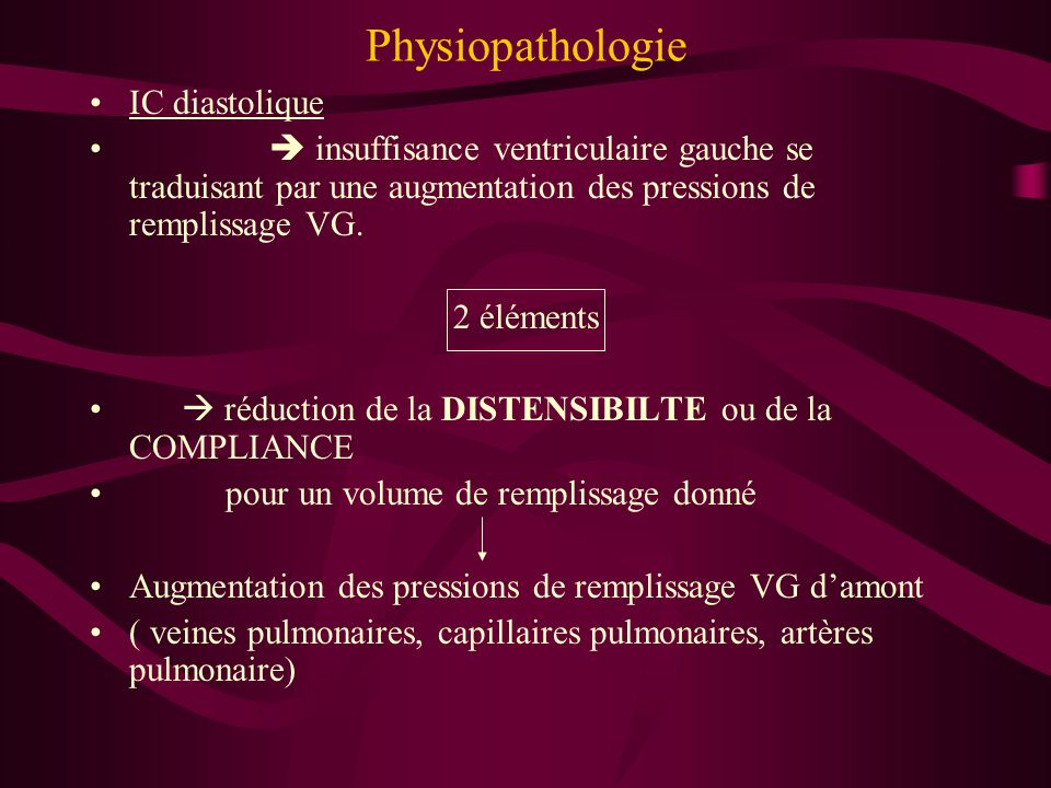 Physiopathologie IC diastolique