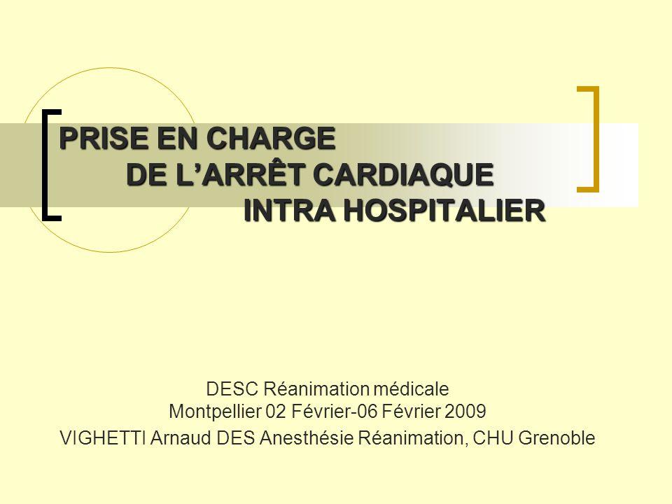 PRISE EN CHARGE DE L'ARRÊT CARDIAQUE INTRA HOSPITALIER