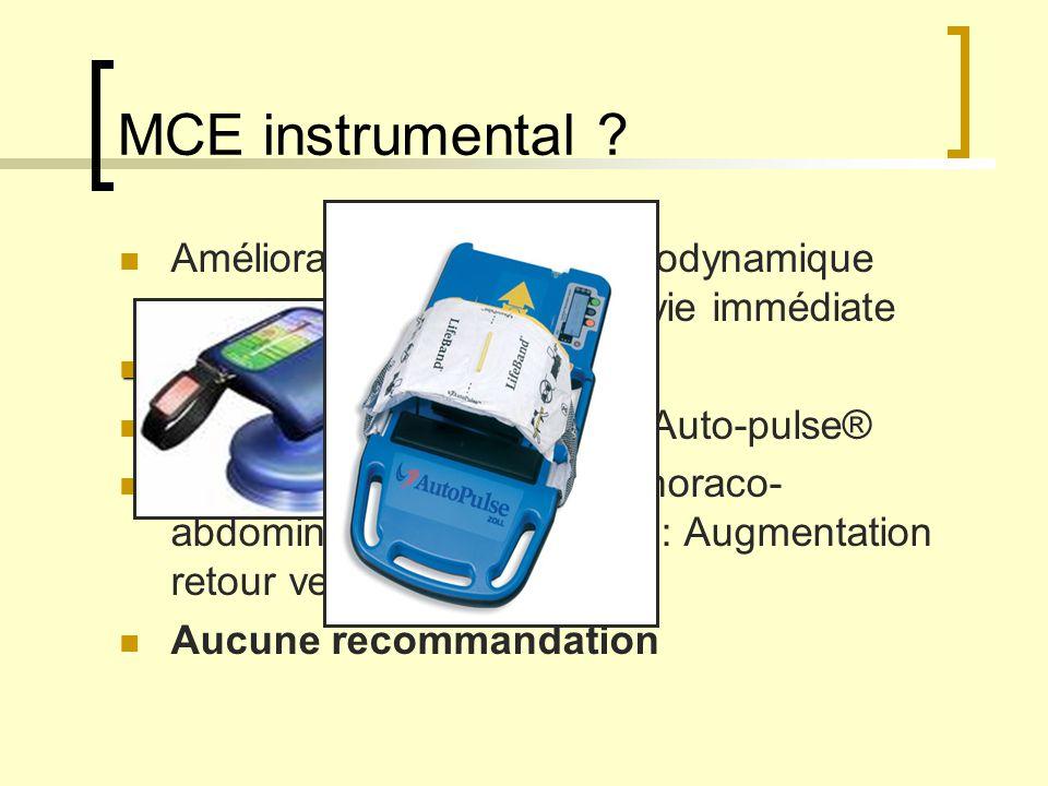 MCE instrumental Amélioration : - de l' hémodynamique - de la survie immédiate. Équipes entraînées +++