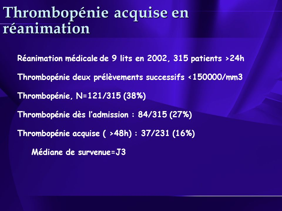 Thrombopénie acquise en réanimation