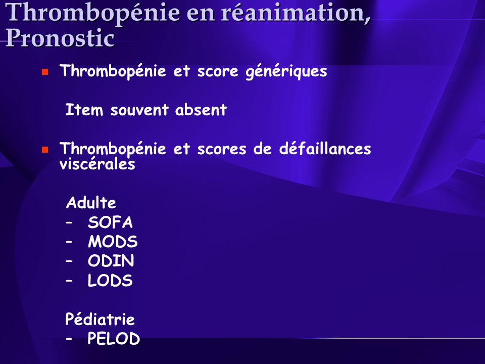 Thrombopénie en réanimation, Pronostic