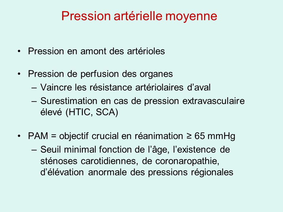 Pression artérielle moyenne