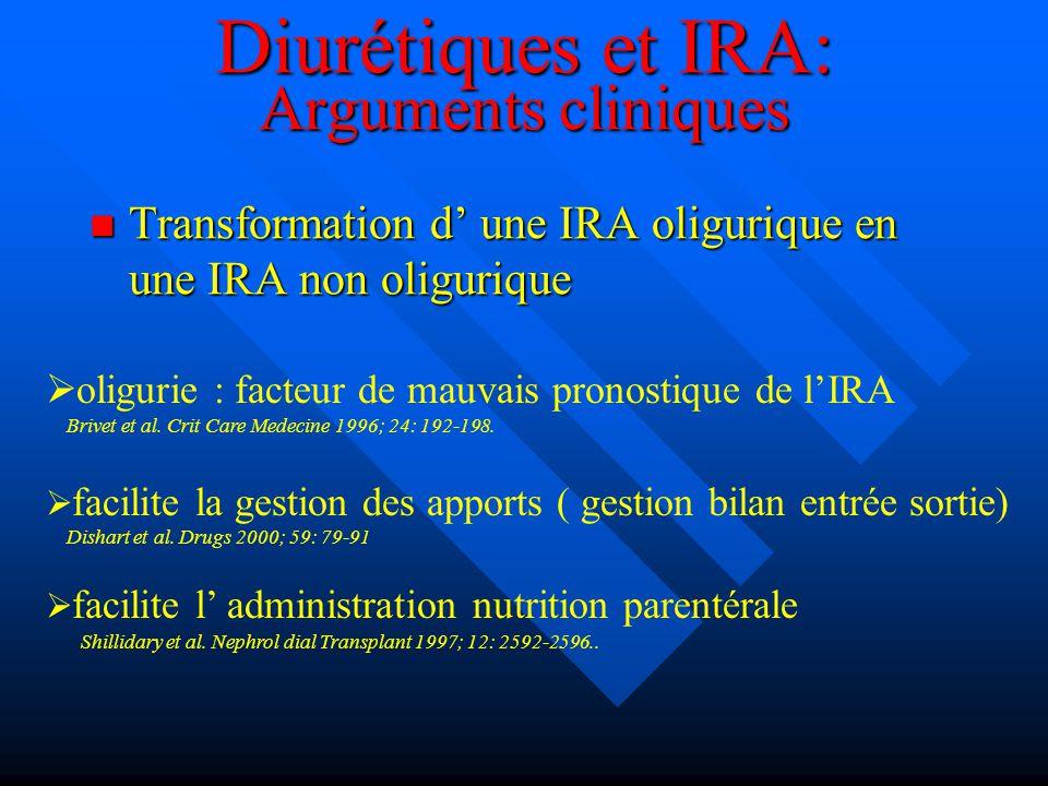 Diurétiques et IRA: Arguments cliniques