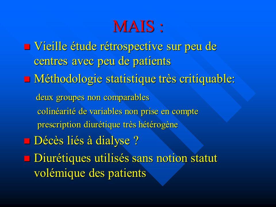 MAIS : Vieille étude rétrospective sur peu de centres avec peu de patients. Méthodologie statistique très critiquable: