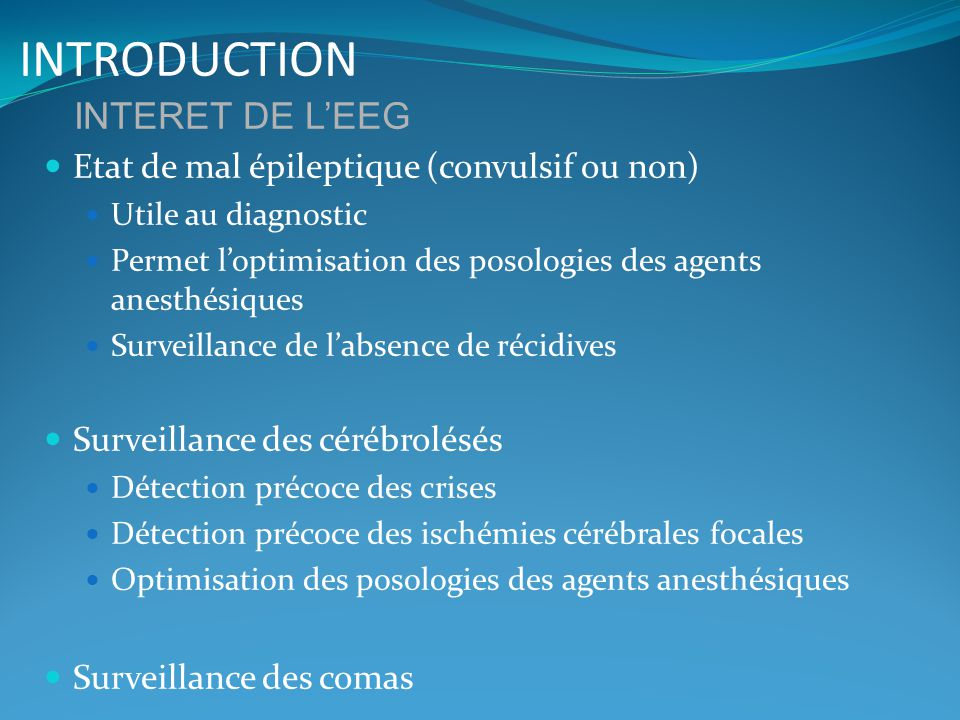 INTRODUCTION INTERET DE L'EEG