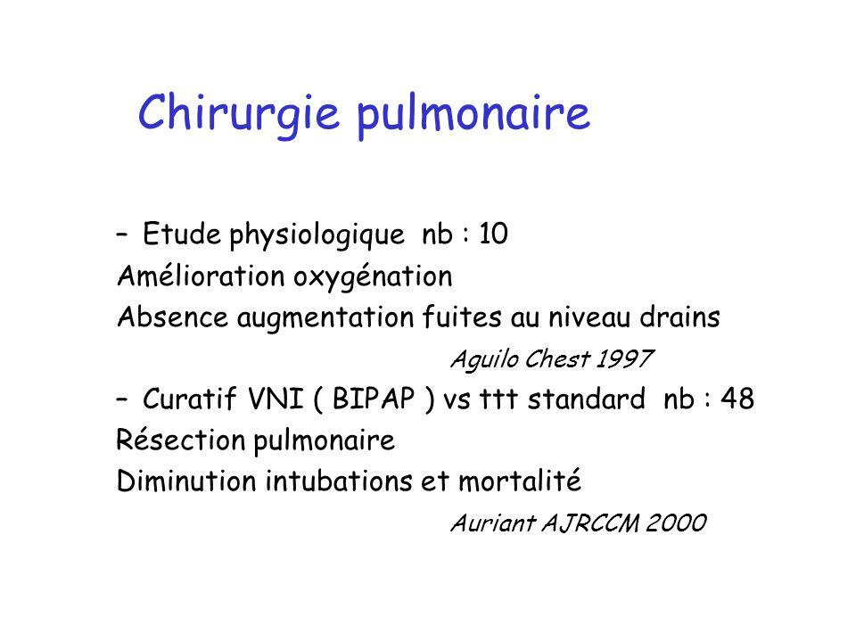 Chirurgie pulmonaire Etude physiologique nb : 10