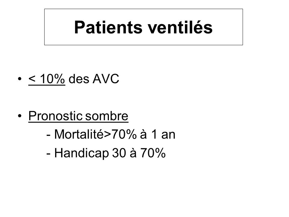 Patients ventilés < 10% des AVC Pronostic sombre