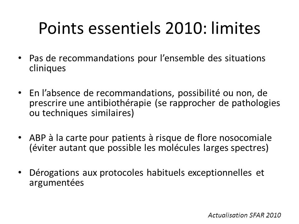 Points essentiels 2010: limites