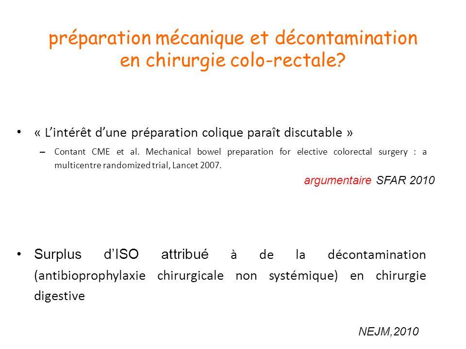 préparation mécanique et décontamination en chirurgie colo-rectale