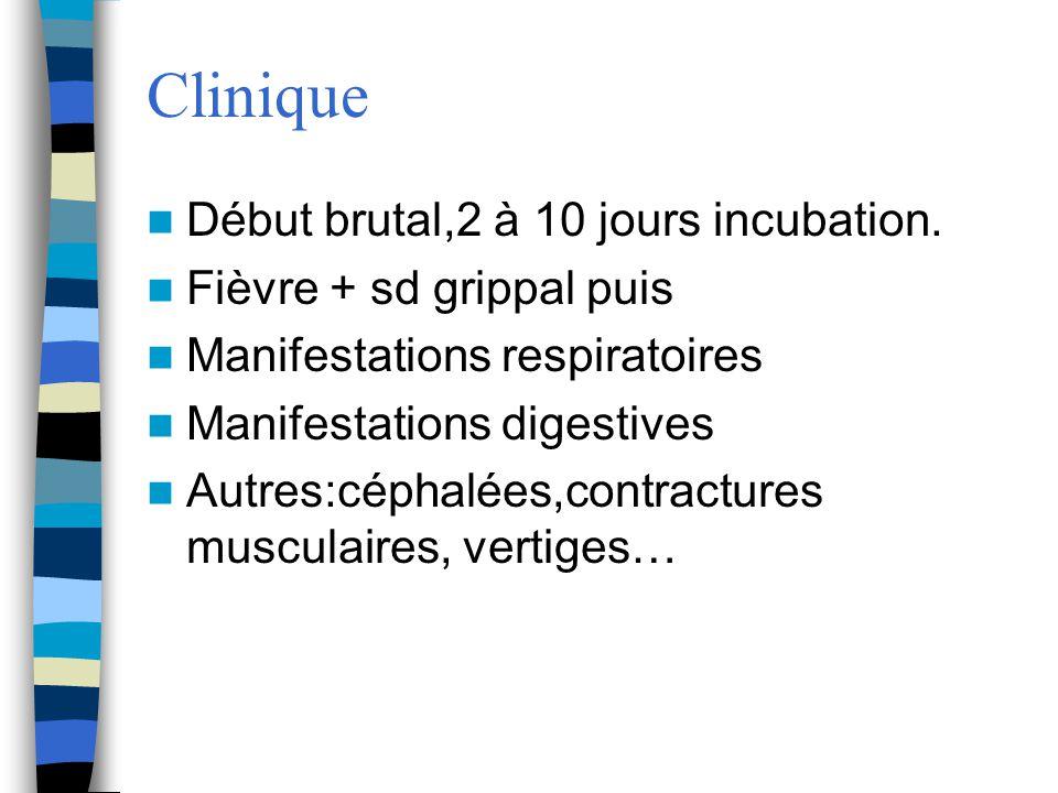 Clinique Début brutal,2 à 10 jours incubation.