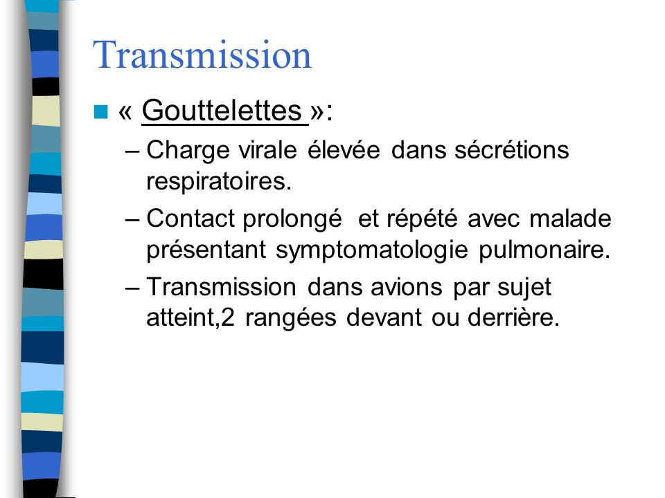 Transmission « Gouttelettes »: