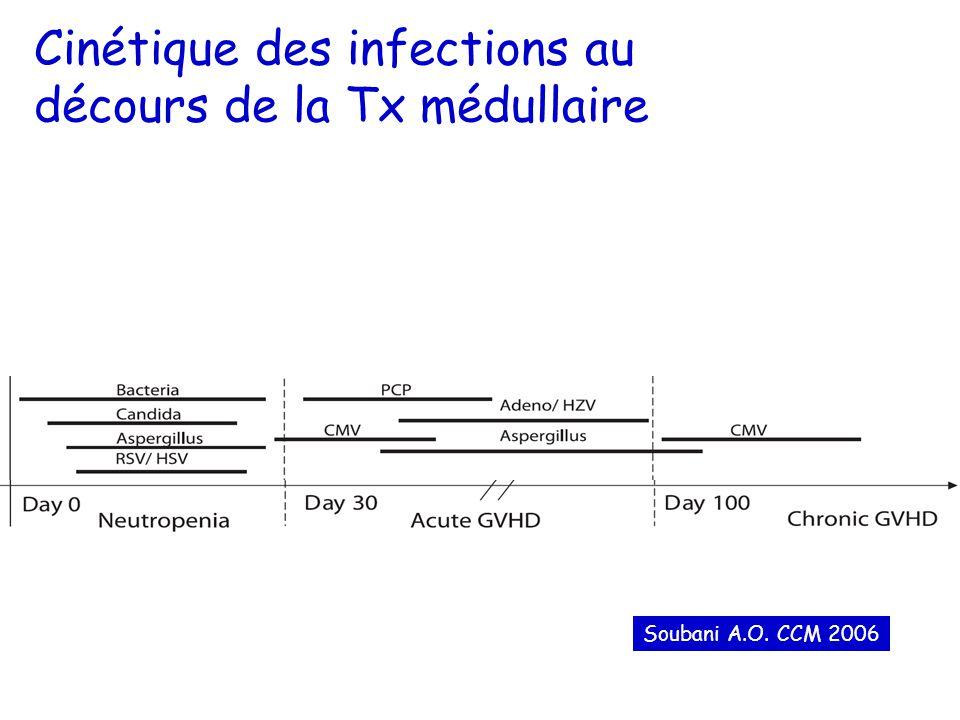 Cinétique des infections au décours de la Tx médullaire