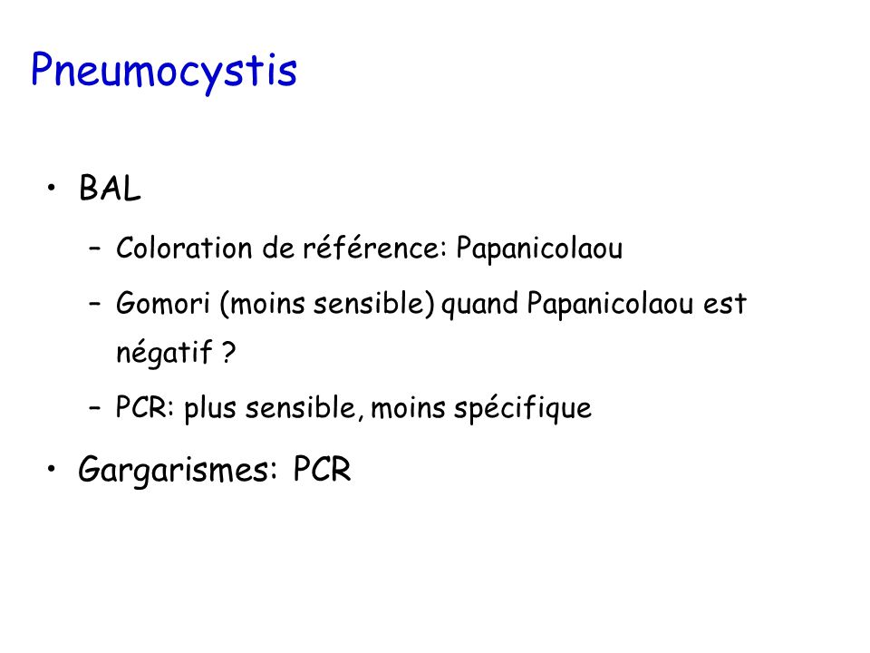 Pneumocystis BAL Gargarismes: PCR